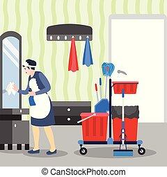 salle, hôtel, plat, bannière, concept, nettoyage, style