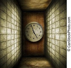 salle, horloge