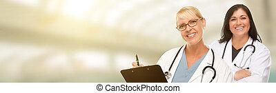 salle, infirmières, text., caucasien, hispanique, médecins, femme, pharmaciens, ou
