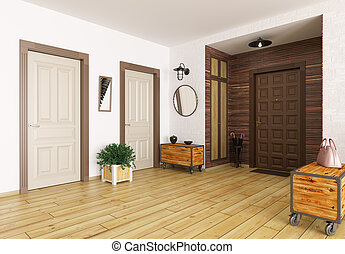 salle, intérieur, 3d, render