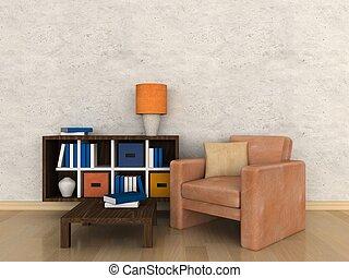 salle, intérieur, moderne