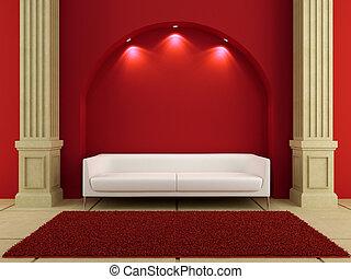 salle, intérieurs, -, divan, blanc rouge, 3d