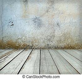 salle, interior:, gris, vieux, peint, ciment, mur, à, plancher bois
