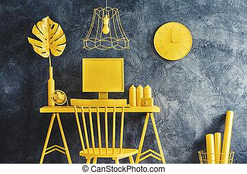 salle, jaune, meubles