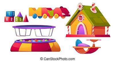 salle jeux, gosses, isolé, ensemble, équipement, meubles