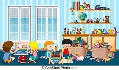salle, jouer, scène, beaucoup, gosses, jouets