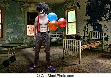 salle, lit, intérieur, mal,  clown, condamné, hôpital