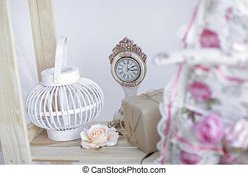 salle, lumière, décoration, blanc, cheminée, noël