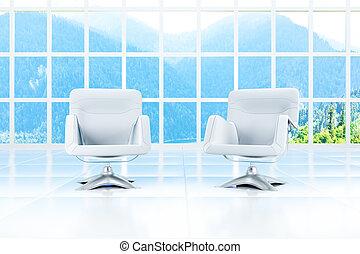 salle, lumière, deux, fenêtre, fauteuils, paysage