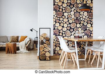 salle manger, intérieur, à, bois brûler