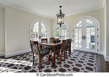 salle manger, portes, circulaire