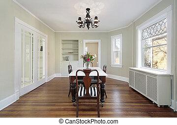 salle manger, portes, verre