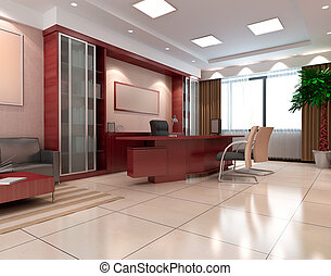 salle moderne, bureau, 3d