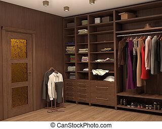 salle, moderne, house., illustration, assaisonnement, intérieur, 3d