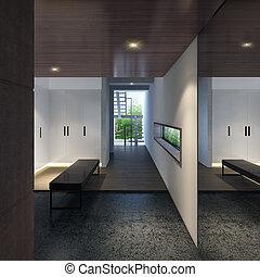 salle moderne, illustration, 3d