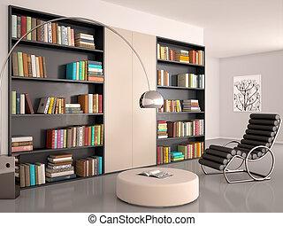 salle, mur, books., moderne, illustration, reading., bibliothèque, intérieur, 3d