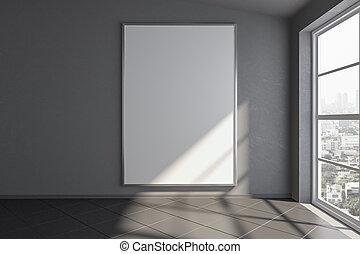 salle, mur, grand, céramique, haut, floor., gris, vide, fenêtre, railler, affiche, blanc, vide