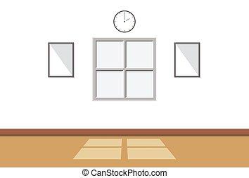 salle, mur, là, fond, lumière soleil, fenêtre, par, illustration, intérieur, blanc, vide