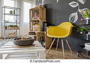 salle, palettes, meubles