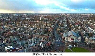 salle, pays-bas, aérien, concert, royal, concertgebouw, impliquer, cityscape, amsterdam, ou, vue