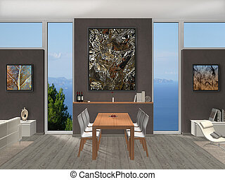 salle, photo, moderne, objets exposés, dîner, intérieur
