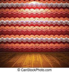 salle, plancher, bois, papier peint, ondulé, retro