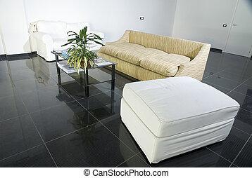 salle, plancher carrelé