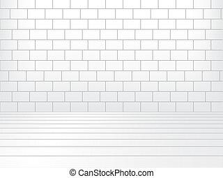 salle, plancher, mur, bois, brique blanche