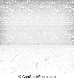 salle, plancher, mur bois, brique blanche, vide