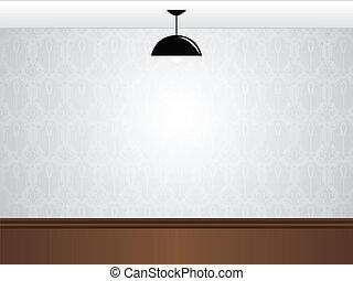 salle, plancher, mur, bois, lampe, noir, blanc, vide