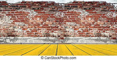 salle, plancher, mur, bois, vide, brique, rouges