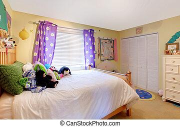 salle, pourpre, jouets, dorlotez fille, curtains.