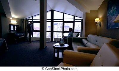 salle, professionnels, hôtel, attente, réunion