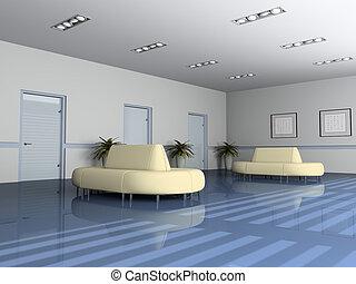 salle réception, dans, bureau, 3d, rendre