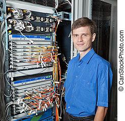 salle, réseau, ingénieur, personne agee, serveur