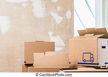 salle, résidentiel, intérieur, boîtes, tas, prêt, rénovation