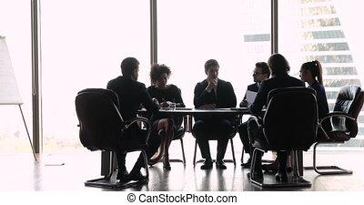 salle réunion, bureau affaires, négocier, international, table, séance gens