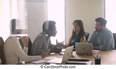salle réunion, cadre affaires, divers, idée génie, projet, table, équipe