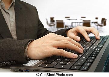 salle réunion, fond, ordinateur portable