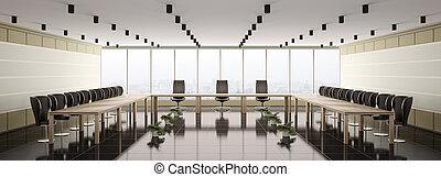 salle réunion, intérieur, moderne, panorama, 3d
