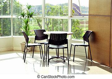 salle réunion, lumière, moderne, réunion