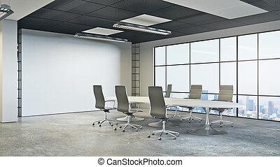 salle réunion, moderne, côté