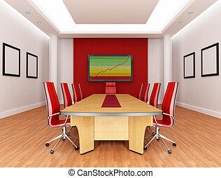 salle réunion, rouges