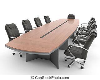 salle réunion, table, isolé, blanc