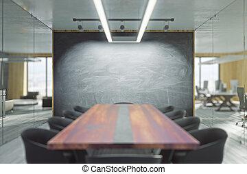 salle, réunion, tableau, contemporain