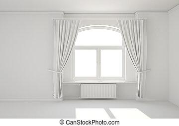 salle, radiateur, chauffage, fenêtre, blanc, vide