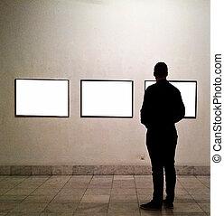 salle, regarder, cadres, galerie, vide, homme
