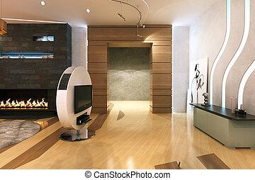 salle, render, grand, contemporain, dîner, interior., nouveau, cheminée, 3d