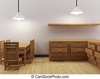 salle, render, image, intérieur, cuisine, 3d