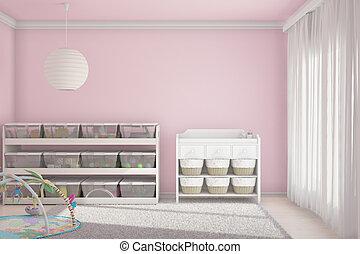 salle rose, enfants, jouets